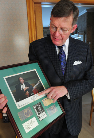 Amesbury: Paul Rogers has been a fan of BB King for many years, and seen him dozens of times, shows an autograph he got from the blues legend several years ago at a show at the Lowell Memorial Auditorium. Bryan Eaton/Staff Photo