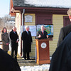 Amesbury: Amesbury Mayor Thatcher Kezer, right, addresses a crowd at a grant announcement for the Lower Millyard on Monday morning. Also speaking from left, state Sen. Kathleen Ives O'Connor, state Rep. Michael Costello and Richard Sullivan, Secretary of Environmental and Energy Affairs. Bryan Eaton/Staff Photo
