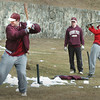 Newburyport: Newburyport High School baseball players at batting practice on Monday. Bryan Eaton/Staff Photo