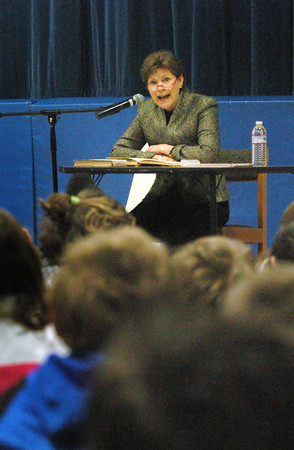 "Seabrook: US Senator Jean Shaheen, (D) NH reads poems from ""Where the Sidewalk Ends"" to third and fourth-graders at Seabrook Elementary School on Friday. She was there for Read Across America. Bryan Eaton/Staff Photo"