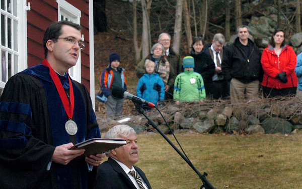 Byfield: The Governor's Academy headmaster, Dr. Peter H. Quimby gives the welcoming address at the school's 250th anniversary celebration. Newbury selectman Joe Story, below, who graduated there in 1967 gave opening remarks. Bryan Eaton/Staff Photo