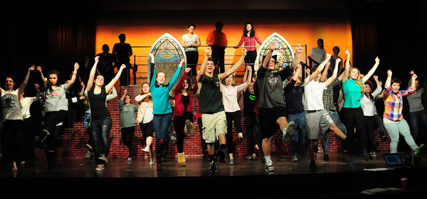 "West Newbury: The opening number in Pentucket High School's production of ""Footloose."" Bryan Eaton/Staff Photo"