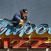 Salisbury: The cleanup continues at Salisbury Beach from recent storms to get ready for the season along with other related activity. Dan Theroux of The Sign Center in Haverhill does some routine maintenance, also checking for corrosion, of the Tripoli Pizza sign on Wednesday morning. Bryan Eaton/Staff Photo
