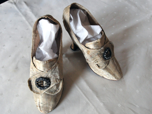 Newburyport: Shoes from 1765 used for special occasions. Bryan Eaton/Staff Photo