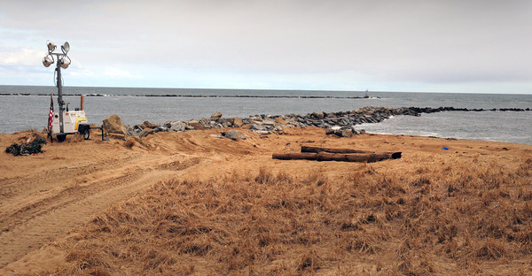 Newburyport: Work on the south jetty at Plum Island may continue for a couple weeks. Bryan Eaton/Staff Photo