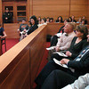 """Newburyport: Acting as a defense lawyer, Noelle Indingaro gives closing statements to """"jurors"""" in a mock trial at Newburyport District Court. Local lawyers Charles Rotondi and Nicole Reilly helped the Triton students prepare. Bryan Eaton/Staff Photo"""