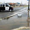 Salisbury: A police van blocks vehicular access to Salisbury Beach during Thursday mornings high tide. Bryan Eaton/Staff Photo