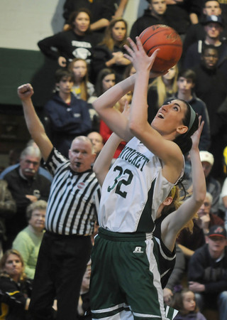 West Newbury: Pentucket's Tess Nogueira is fouled as she shoots against Bishop Fenwick during their game at Pentucket Saturday afternoon. JIm Vaiknoras/staff photo