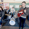 West Newbury: The Pentucket high jazz band, Alden Slack on sax, Emma Jones on keyboards, Eddie Gaudet on drums and Josh Torvi on guitar, not shown Aubry Harris on bass. Jim Vaiknoras/staff photo