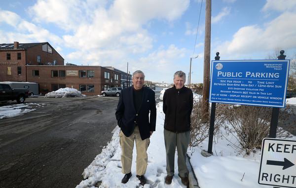 Newburyport: Bill Harris and Larry McCavitt at the waterffront parking lot in Newburyport. Jim Vaiknoras/staff photo
