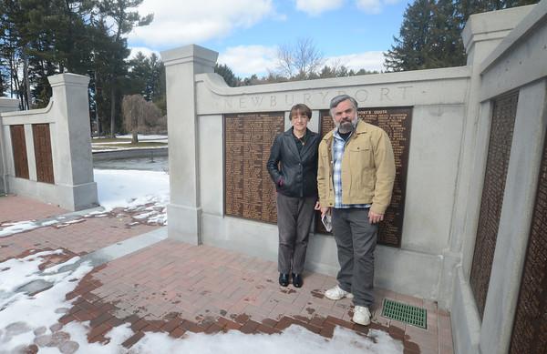 Newburyport: Bill and Liz Hallet at the Civil War memorial at Altkinson Commons. Jim Vaiknoras/staff photo