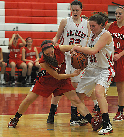 Watertown: Amesbury's Amanda Martin fights for the ball with Watertown's Katelyn Rourke during the Indians loss to Watertown at Watertown high school Sunday. Jim Vaiknoras/staff photo
