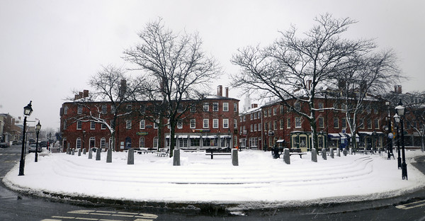 Newburyport: Market Square in Newburyport is covered with a blanket of snow on the last day of winter. Jim Vaiknoras/staff photo