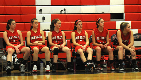 Watertown: The Amesbury girls bench watch as their team goes down to Watertown at Watertown high school Sunday. Jim Vaiknoras/staff photo