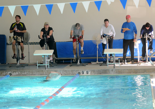 Newburyport: Cyclist participate in the 4th annual Indoor Triathlon at the YWCA in Newburyport Sunday morning.  Jim Vaiknoras/staff photo