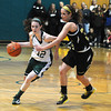 West Newbury: Pentucket's  Kelsi McNamara drives past Bishop Fenwick's Kaitlyn Lipka during their game at Pentucket Saturday afternoon. JIm Vaiknoras/staff photo