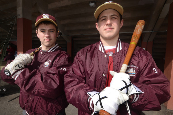 newburyport: Newburyport high baseball player Andrew Fiascone and Connor Wile are both returning to the team this year after shoulder injuries last year. Jim Vaiknoras/staff photo