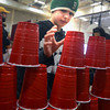 Amesbury: Jack White, 10 tries his hand at stacking cups at the annual Family Fun Fair at the Cashman School in Amesbury Saturday afternoon. Jim Vaiknoras/staff photo