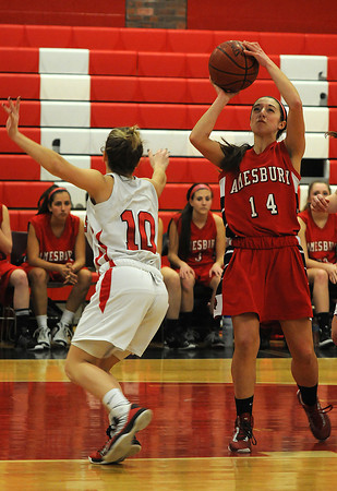 Watertown: Amesbury's Amanda Martinhits a jump shot during the Indians loss to Watertown at Watertown high school Sunday. Jim Vaiknoras/staff photo