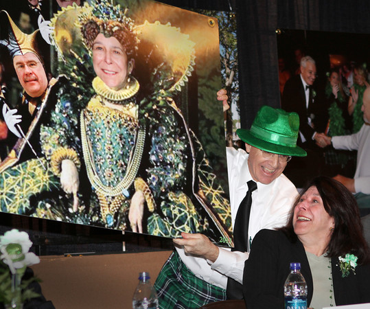Newburyport: St. Patrick's Lunch emcee Charlie Cullen spoofs Newburyport Mayor Donna Holaday as a queen and city councilor Jack Cronin as a jester. Keith Sullivan/Special to the Daily News