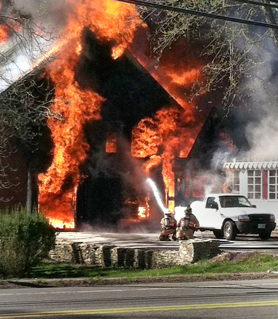 West Newbury: Barn at 230 Main Street in West Newbury which once was an antique shop goes up in flames. Courtesy Photo/Chris Wile