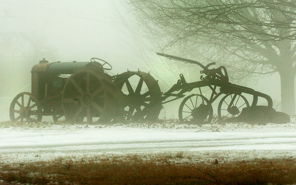 Salisbury: This farm equipment on Main Street in Salisbury stands out against the foggy conditions on Wednesday. Bryan Eaton/Staff Photo