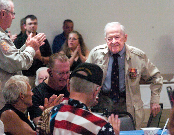 BRYAN EATON/Staff photo. George Duffy who was in the Merchant Marines during World War II whose ship was sunk by the Germans was recognized at the Veterans Luncheon. He served 1119 days as a POW by the Germans, then by the Japanese.