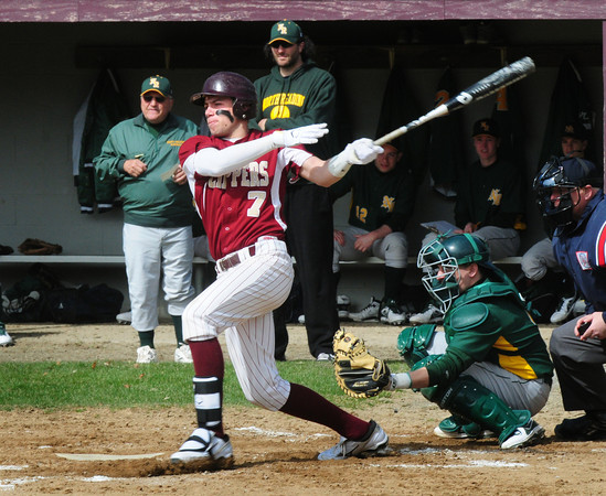 Newburyport: Newburyport's Colton Fontaine cracks the ball which was stopped by the North Reading third baseman. Bryan Eaton/Staff Photo