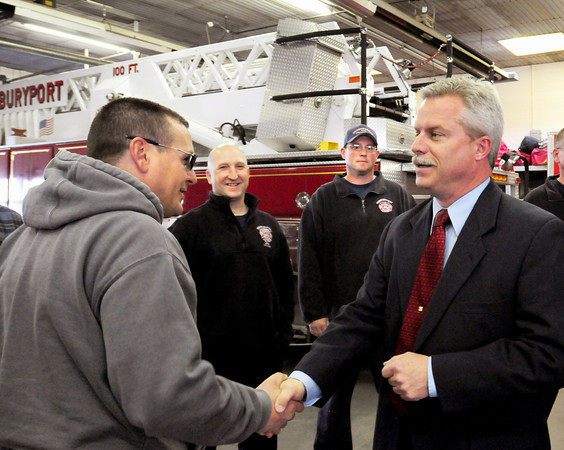 Newburyport: Christopher LeClaire, right, who starts in June as Newburyport's new fire chief met the crew Monday afternoon. Bryan Eaton/Staff Photo