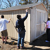 Salisbury: Volunteers from the Boys and Girls Club painted the storage shed at the Salisbury Community Garden on Old County Road. The club also has their own plot at the site. Bryan Eaton/Staff Photo