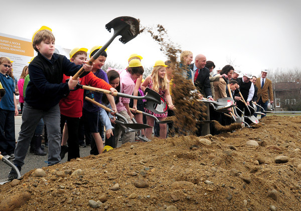 Newburyport: Students along with the usual dignitaries joined in on a groundbreaking for the new Middle School Renovation Project yesterday on Low Street in Newburyport. Bryan Eaton/Staff Photo