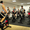 Newburyport: Mike Guthrie leads a spinning/excercise class for students at Newburyport High School. Bryan Eaton/Staff Photo