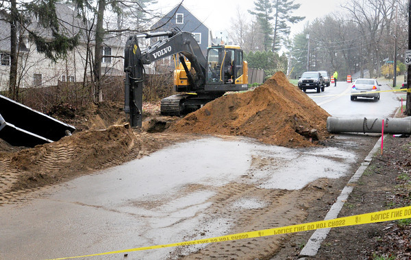 Newburyport: A worker was injured at a construction site on Moseley Avenue, just up from Merrimac Street in Newburyport where work is being done to create a roundabout. Bryan Eaton/Staff Photo