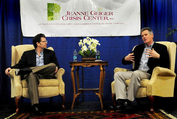 Newburyport: Author Andre Dubus III, left, and former US Senator Scott Brown speak about abuse of woman they've experienced in their lives at the Hope Community Churcy at a fundraiser for the Jeanne Geiger Crisis Center. Bryan Eaton/Staff Photo