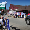 Salisbury: Candidate supporters were out in force in Salisbury's town election outside the Hilton Center yesterday morning. Bryan Eaton/Staff Photo
