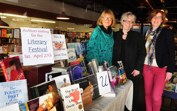 Newburyport: Newburyport Literary Festival organizers Vicki Hendrickson, left, and Jen Entwistle, right, flank, Jabberwocky Bookshop owner Sue Little, who is being honored at the festival. Bryan Eaton/Staff Photo