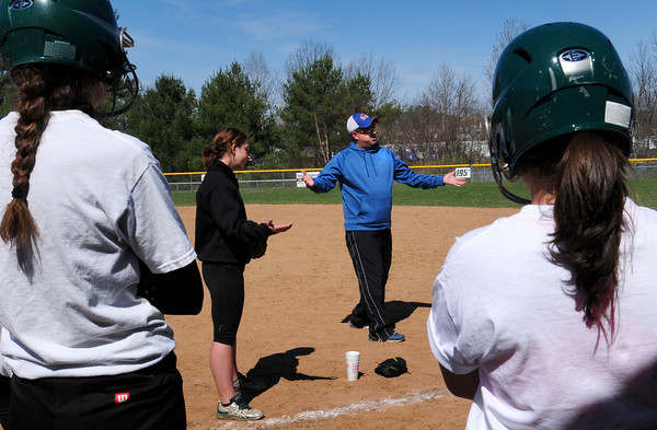 Groveland: Pentucket softball coach Danielle Mason, left, had UMass Lowell coach on hand for an instructional program at Groveland Pines. Bryan Eaton/Staff Photo