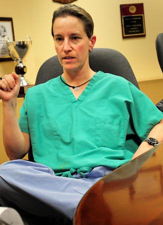 Newburyport: Dixie Harrington of Newburyport who was a medical volunteer at the Boston Marathon finish line medical tent, describes the scene on Monday. Bryan Eaton/Staff Photo