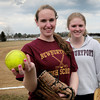 Newburyport: Newburyport High softball pitchers Victoria Allman, left, and Carley Siemasko. Bryan Eaton/Staff Photo
