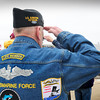 Salisbury: Peter Joy of Sanford, Maine salutes after the names off all those aboard the ill-fated USS Thresher were read at a memorial service at Salisbury Beach Center yesterday morning. Joy in the  US Navy and aboard submarines from 1962-1985. Bryan Eaton/Staff Photo