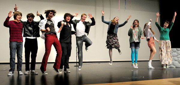 "Amesbury: Cast members of the Amesbury High production of the musical ""Grease"" at rehearsal on Tuesday afternoon. Bryan Eaton/Staff Photo"