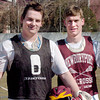 Newburyport: Nick Mombello, left, and Alex Buckley on the Newburyport High lacrosse team. Bryan Eaton/Staff Photo