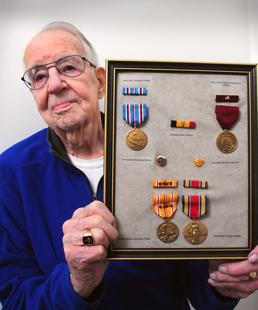 Amesbury: World War II veteran Robert Wilbur of Amesbury got his stolen medals replaced by the US Congress. Bryan Eaton/Staff Photo