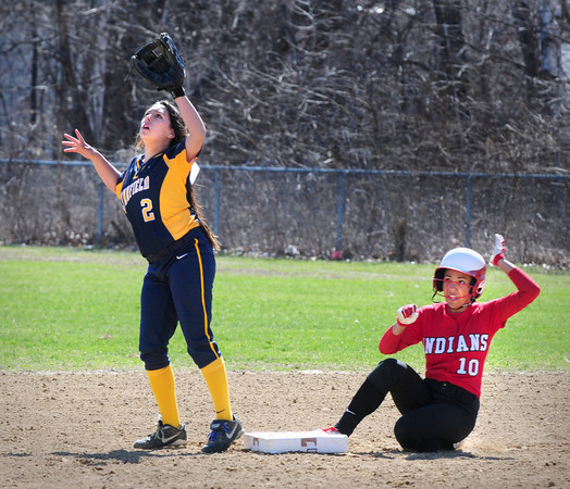 Amesbury: Amesbury's Alexis Bodwell slides into second base on her double. Bryan Eaton/Staff Photo