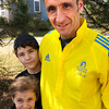 Byfield: Robert Hall of Byfield, with children Morgan, 9, and Benjamin, 14, is running the Boston Marathon. Bryan Eaton/Staff Photo