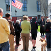 Newburyport: Newburyport Mayor Donna Holaday lead a group in a moment of silence at Brown Square to mark the bombings to the minute at the Boston Marathon finish line last week. Bryan Eaton/Staff Photo