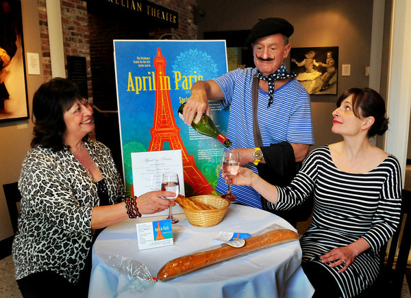 "Newburyport: Promoting the upcoming fundraiser for the Firehouse ""April in Paris"" from left, Esther Sayer, Louis Rubenfeld and Beth Falconer. Bryan Eaton/Staff Photo"