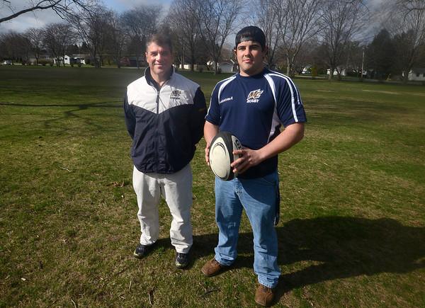 North Andover: Merrimack College rugby founders Maurice Kauff and Jon Gurczak. Jim Vaiknoras/staff photo