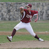 newburyport: Newburyport 's Connor MacRae pitches during the Clipper's home game against Masco Thursday. Jim Vaiknoras/staff photo