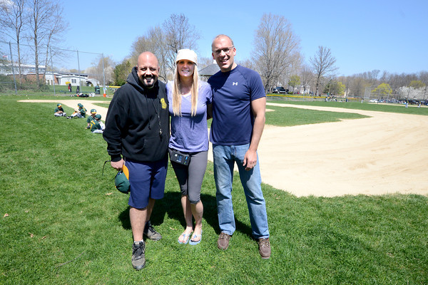 West Newbury: Ray Antopoulos, Samantha Graham and Jeff Meisner at the Little League Field in West Newbury.